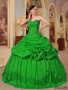Green Beaded Sweetheart Full-length Dresses For Quinceanera with Pick-ups