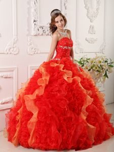 Sweetheart Red Floor-length Quinceanera Gowns with Ruffles and Beading