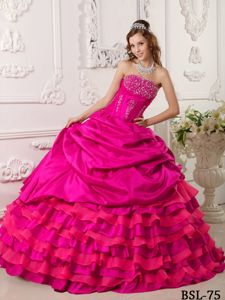 Hot Pink Beaded Strapless Full-length Sweet Sixteen Dresses with Pick-ups