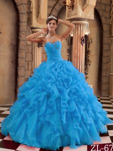 Aqua Blue Beaded Sweetheart Floor-length Quinceanera Gown with Ruffles