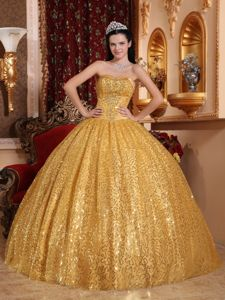 Gold Sequin Over Skirt Strapless Floor-length Quinceanera Gown in Aurora
