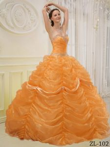 Bright Gold Ball Gown Sweetheart Organza Beading Quinceanera Dress in Boone