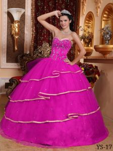 Hot Pink Sweetheart Satin and Tulle Beading and Embroidery Quinceanera Dress