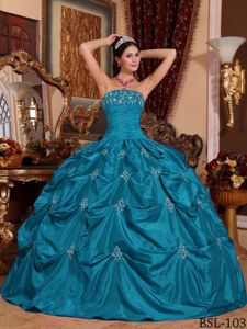 Teal Strapless Taffeta Appliques and Pick-ups Quinceanera Dress in Hauppauge