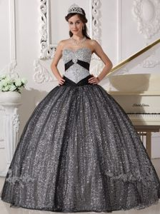 Black Ball Gown Sweetheart Sequined and Tulle Appliques Quinceanera Dress