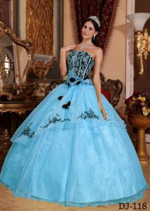 Blue Strapless Organza Embroidery and Hand Made Flowers Quinceanera Dress