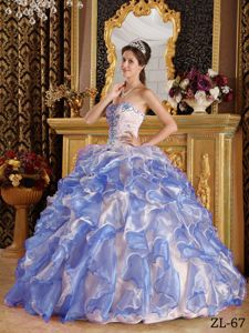 Multi-Color Ball Gown Sweetheart Organza Appliques Quinceanera Gown Dresses