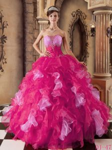 Hot Pink Strapless Organza Beading and Ruffles Quinceanera Dress in Flushing