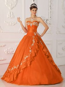 Orange Red Princess Sweetheart Embroidery and Beading Quinceanera Dress