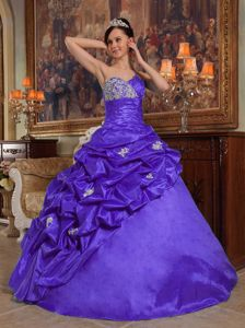 Purple Sweetheart Beading and Appliques Taffeta Quinceanera Dress in Union
