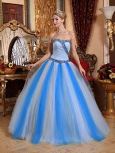 Two-toned Blue A-line Sweetheart Tulle Beading Quinceanera Dress in Trenton