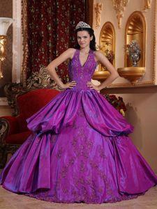 Purple Ball Gown Halter Top Taffeta Appliques Sweet 16 Dress in New Brunswick