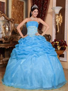 2014 Baby Blue Ball Gown Strapless Appliques Quinceanera Dress in Montclair