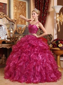 Jersey City Fuchsia Ball Gown One Shoulder Organza Beading Quinceanera Dress