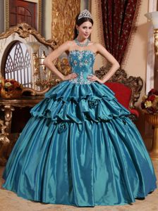 Teal Ball Gown Sweetheart Appliques Quinceanera Dress with Hand Made Flowers