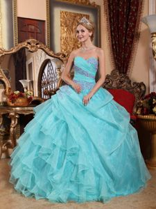 Sweetheart Organza Appliques and Ruching Quinceanera Dress in Baby Blue