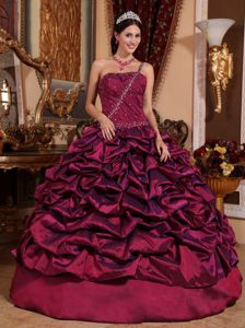 Wine Red One Shoulder Taffeta Pick-ups and Beading Quinceanera Gown Dress