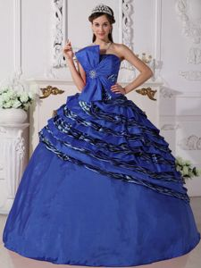 Royal Blue Ball Gown Strapless Zebra Quinceanera Dress with Beading in Fairfield