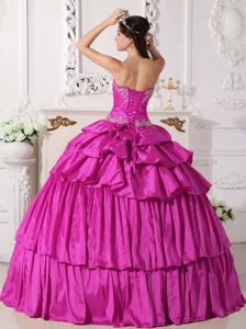 Detachable Fuchsia Sweetheart Taffeta Beading and Ruching Quinceanera Dress