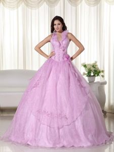 Hot Pink Halter A-line Quince Dresses with Ruffles and Flowers in Santa Rosa