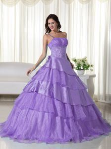 One Shoulder Floor-length Princess Quinceanera Gowns in Lilac with Ruffles