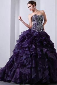 Purple Sweetheart Brush Train Quinceanera Gowns with Ruffles in Auburn