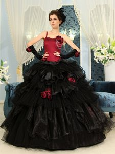 One Shoulder Black Quince Dresses with Flowers and Pick-ups in Concord