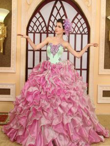 Ruffled Floor-length Quinceanera Gowns in Green and Pink with Appliques