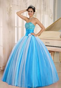 Strapless Floor-length Quince Dresses in Blue with Appliques in Englewood
