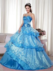 Blue Sweetheart Floor-length Sweet 15 Dresses with Ruffles in Breckenridge