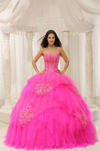 Hot Pink Sweetheart A-line Quinceanera Dresses with Beading and Appliques