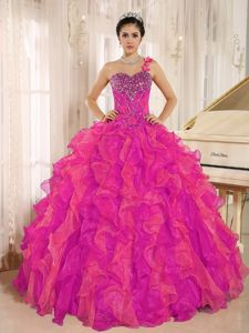 One Shoulder Beaded Hot Pink Sweet 16 Dresses with Ruffles in Estes Park