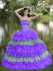 Ruffled A-line Strapless Quinceanera Gown Dresses in Purple with Sequins