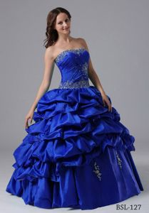 Beaded Strapless Floor-length Sweet 15 Dresses in Royal Blue with Pick-ups