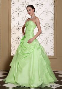 Yellow Green A-line Strapless Sweet 15 Dresses with Beading in Loveland