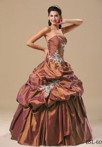 Chocolate Strapless Dresses for Quinceanera with Appliques and Pick-ups