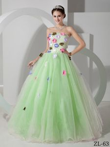 Apple Green A-line Strapless Dresses for Quince with Flowers in Evergreen