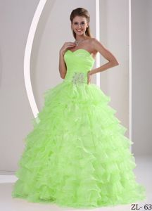 Ruffled Sweetheart Princess Yellow Green Sweet 16 Dresses in Englewood