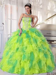 Yellow and Green Strapless Quinceanera Gowns with Ruffles in Kennesaw