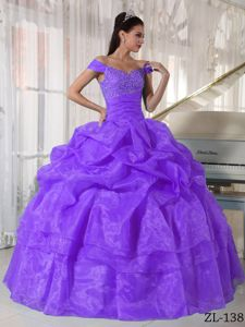 Off The Shoulder Floor-length Purple Quince Dress with Pick-ups in Redding
