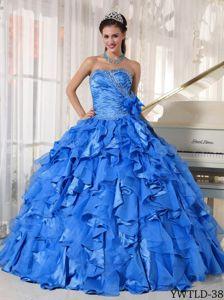 Blue Sweetheart Floor-length Sweet Sixteen Dress with Beading and Ruffles