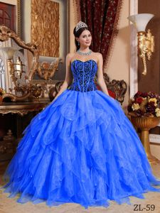 Sweetheart Floor-length Blue Sweet 15 Dresses with Ruffles in Little Rock
