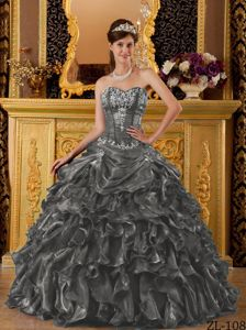 Cheap Dark Gray Sweetheart Quinceanera Gown with Appliques and Ruffles