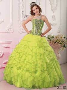 Ruffled Sweetheart Yellow Green Quinceanera Gown Dresses in Aliso Viejo