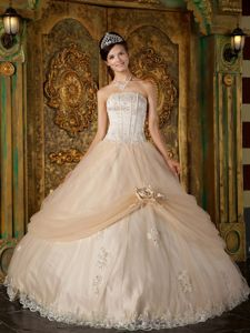 Champagne Strapless Quinceanera Gown with Appliques and Lace in Corona