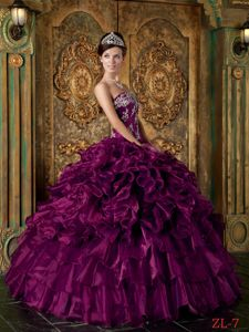 Strapless Floor-length Quinceanera Gown in Eggplant Purple with Appliques