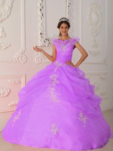 Elegant Lavender v Neck Beaded Quinceanera Dresses with Pick Ups in Smyrna
