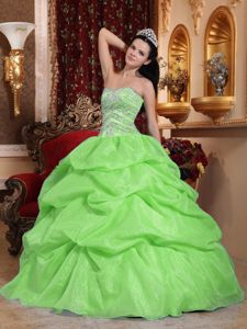 Yellow Green Sweetheart Beaded Quince Dresses with Pick Ups in Rome