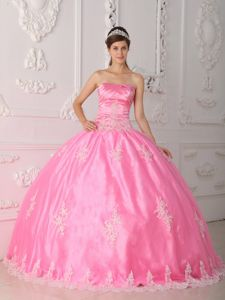 Attractive Pink Strapless Appliqued Quinceaneras Dress in Lawrenceville