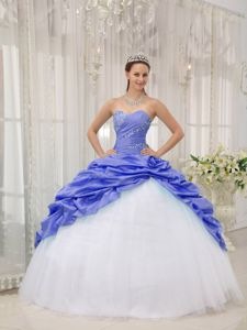 Lilac and White Sweetheart Beaded Tulle Sweet 16 Dresses with Pick Ups